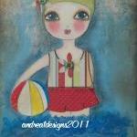 Little Swimmer 5x7 art card PRINT M..