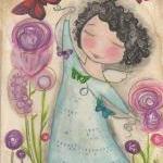 Butterfly Garden ANGEL 5x7 art CARD..