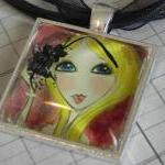 Glitter Girl glass tile pendant NEW..