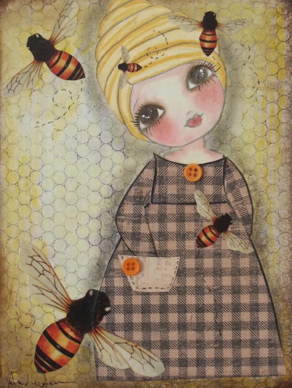 She has a BEE in her BONNET 5x7 ART CARD