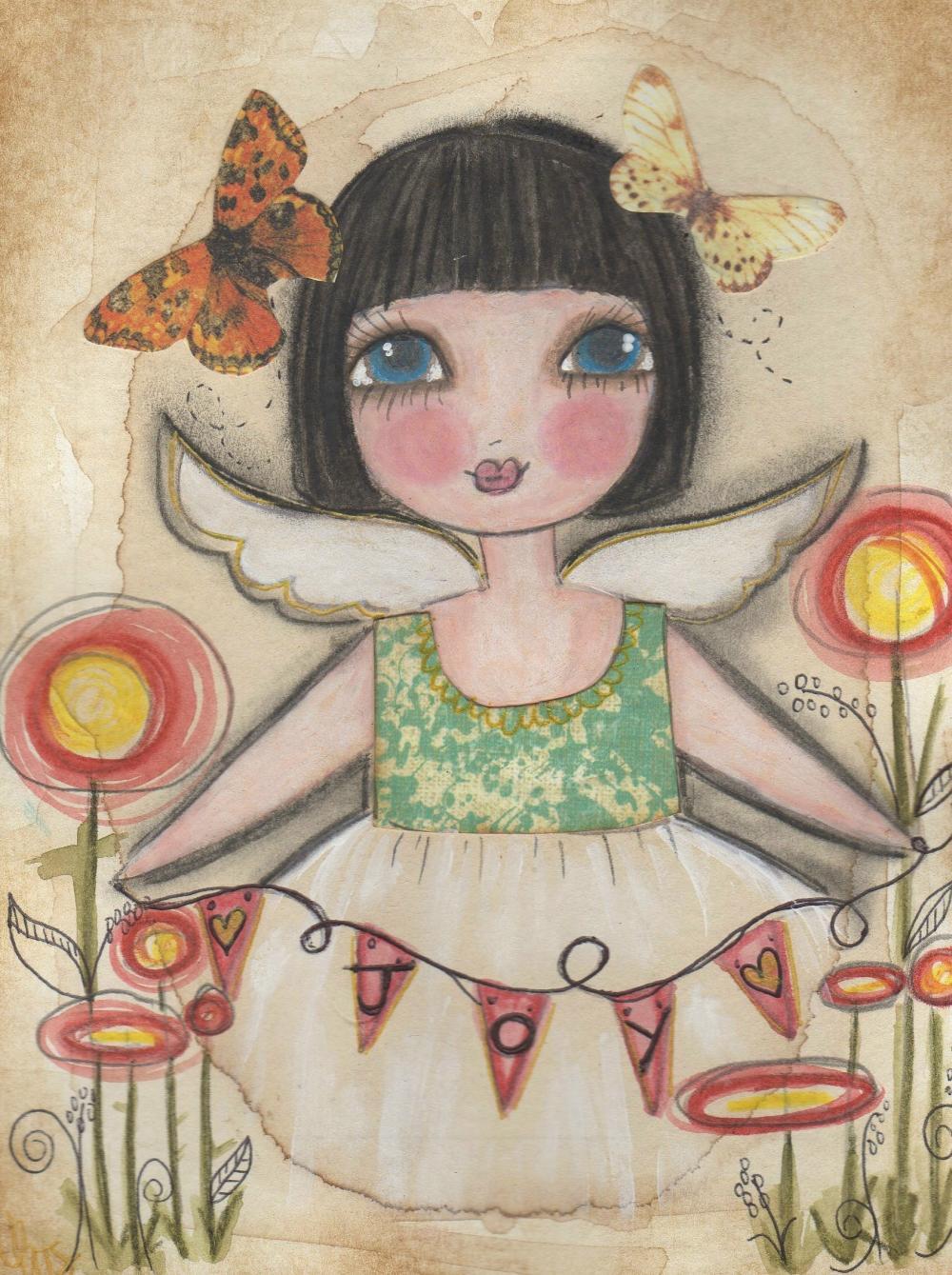 Joy ANGEL 5x7 ART card PRINT