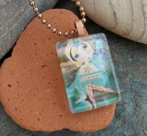 Take your Wings and FLY glass tile pendant
