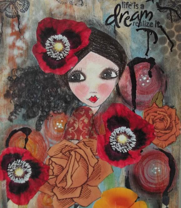 red poppy DREAM print