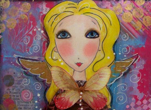 Angel Fairy 5x7 art print card Blonde blue eyes