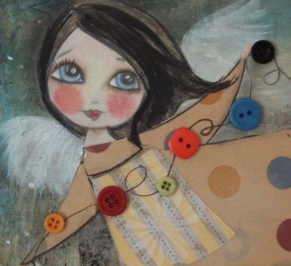 The Button Collector original mixed media ANGEL