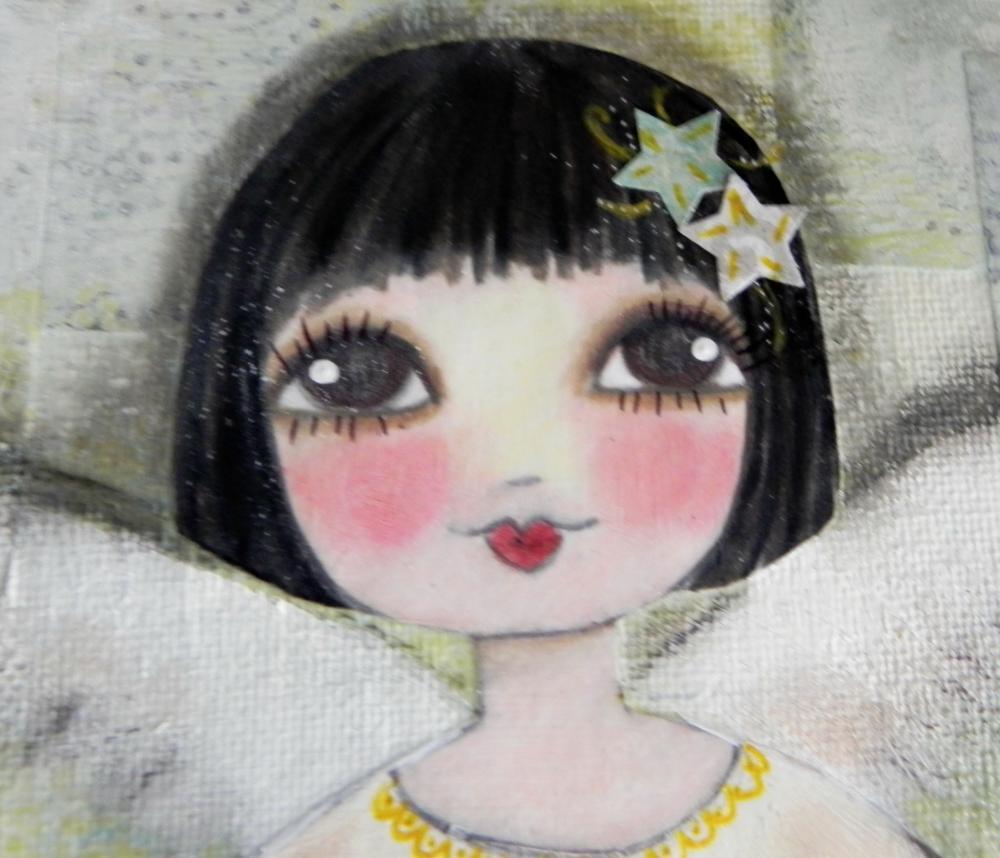 Winter Angel 8x10 ORIGINAL mixed media painting