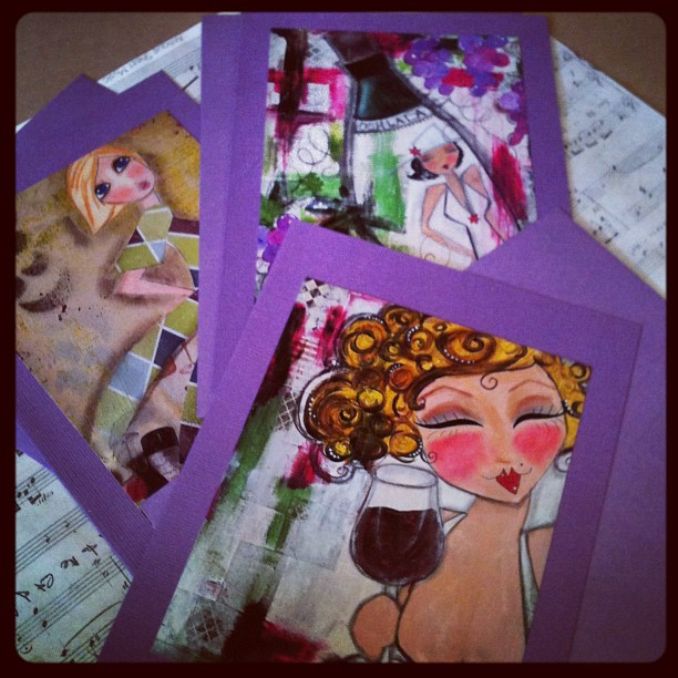 Cabernet Girls set of 3 glossy 5x7 ART CARDS Limited Edition WINE THeme