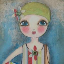 Little Swimmer 5x7 art card PRINT Mixed Media design