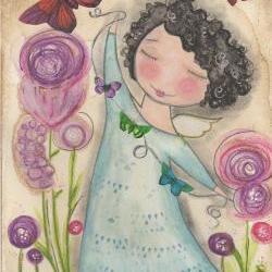 Butterfly Garden ANGEL 5x7 art CARD print