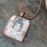 Joy in my Heart ART you can WEAR copper pendant