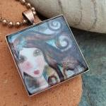 Imagine you can Art to Wear glass and copper pendant