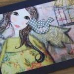 Angel in BLUE 5x7 ART card PRINT