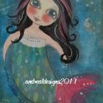 Swim FISHY swim MERMAID 5x7 Art Card PRINT