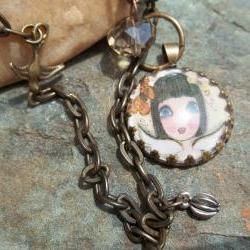 Joy in my Heart vintage style glass pendant creation- FREE art card with purchase