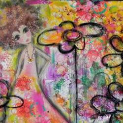 Soul Flower ORIGINAL mixed media creation NEW ART 2012