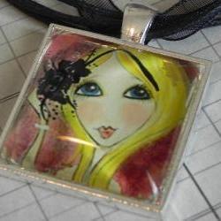 Glitter Girl glass tile pendant  NEW LOWER PRICE