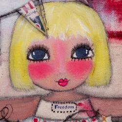 Miss Liberty Belle 12x12 ORIGINAL ART mixed media painting