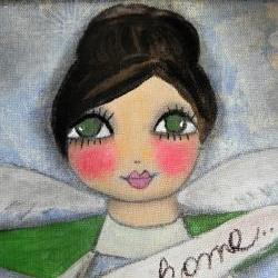 Bless this Home 12x12 angel in flowers mixed media Original