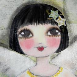 Winter Angel 8x10 ORIGINAL mixed media painting