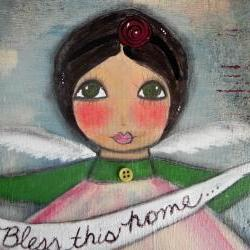 Bless this HOME angel with houses ORIGINAL mixed media 11x14