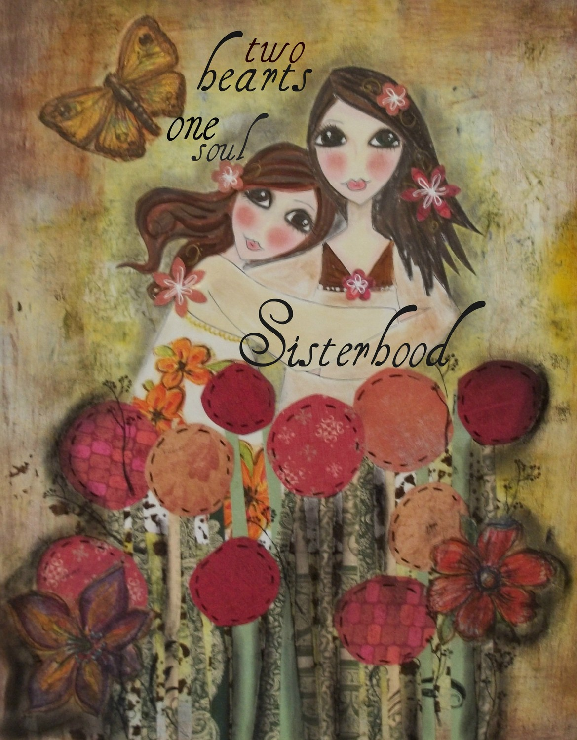Two Hearts Sisters 5x7 Art Card Print On Luulla